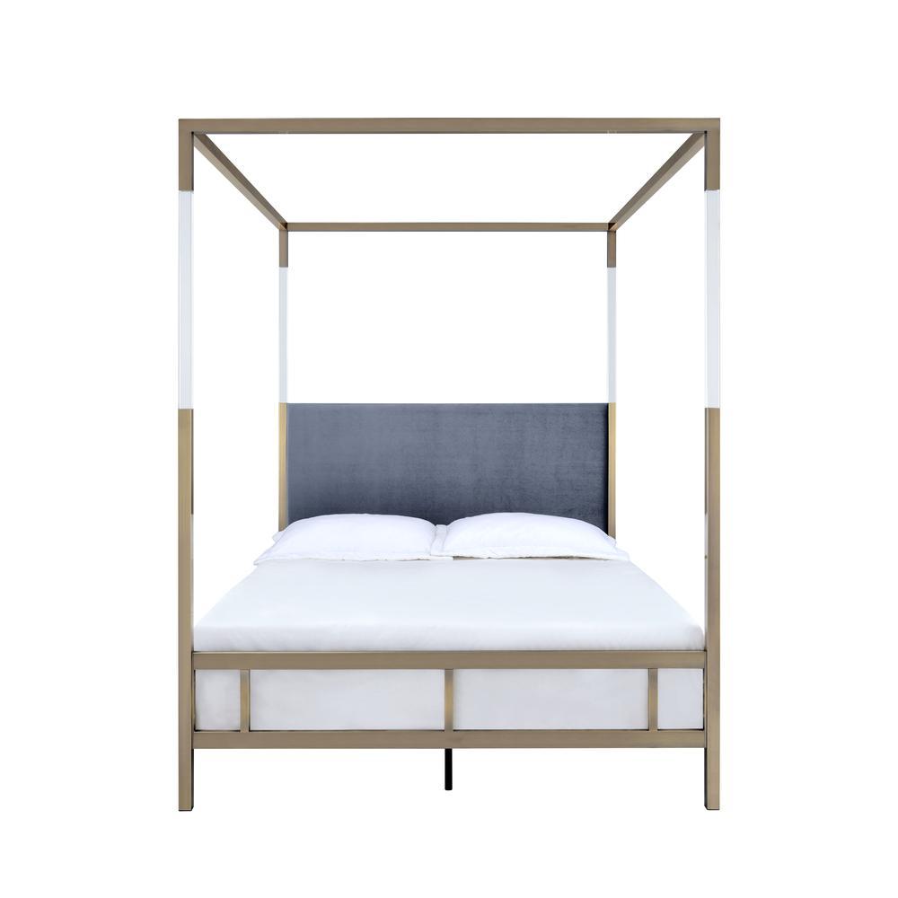 Raegan Queen Bed (Canopy), Gray Velvet & Antique Brass (1Set/2Ctn). Picture 3