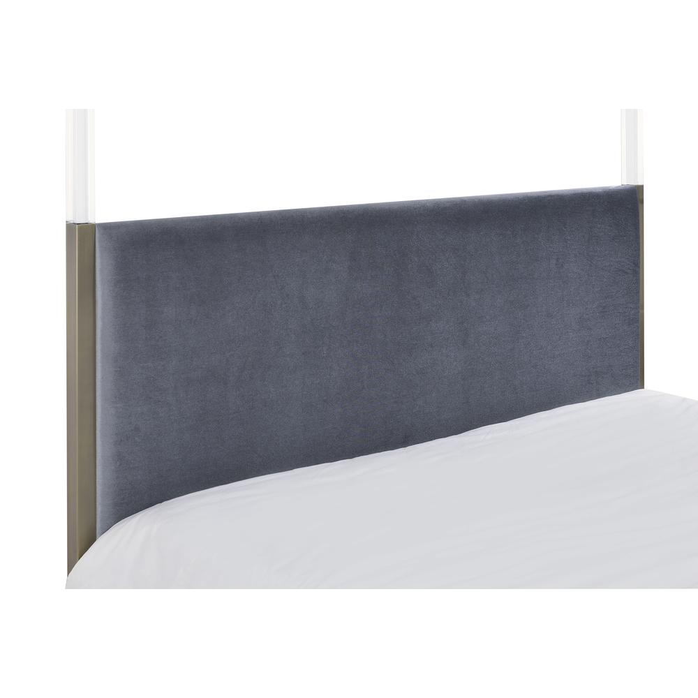 Raegan Queen Bed (Canopy), Gray Velvet & Antique Brass (1Set/2Ctn). Picture 4