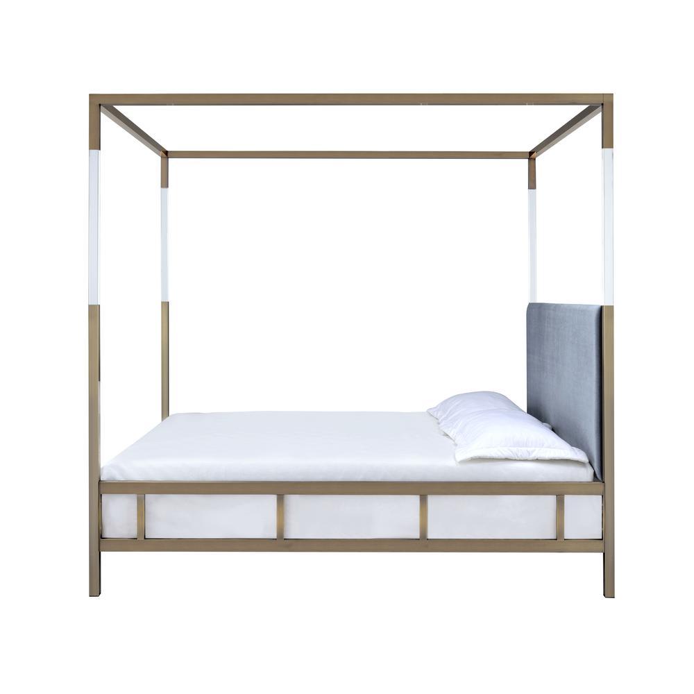 Raegan Queen Bed (Canopy), Gray Velvet & Antique Brass (1Set/2Ctn). Picture 6