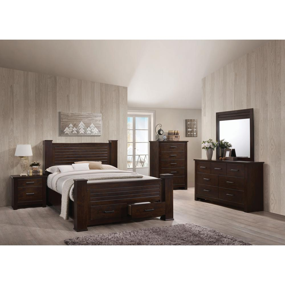 Panang Queen Bed w/Storage, Mahogany (1Set/4Ctn). Picture 1