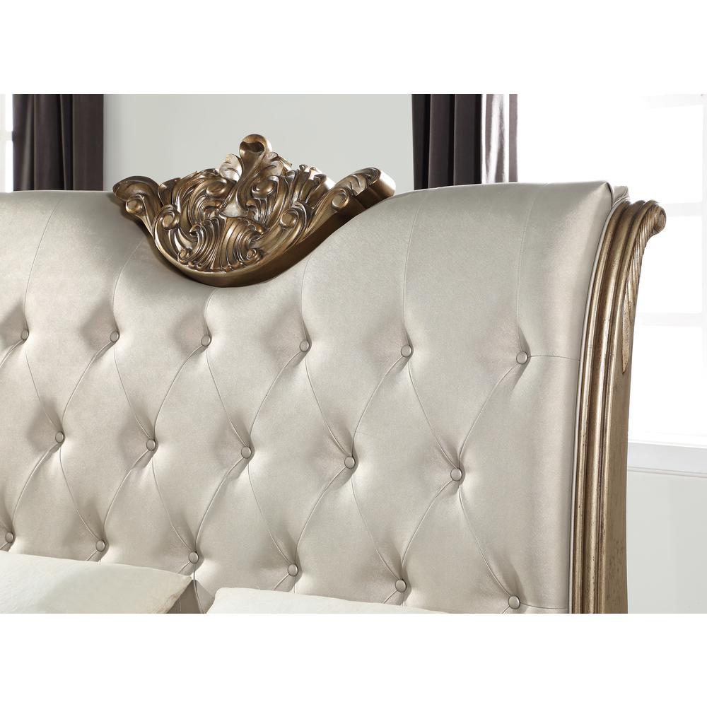 Orianne Queen Bed, Champagne PU & Antique Gold (1Set/4Ctn). Picture 4