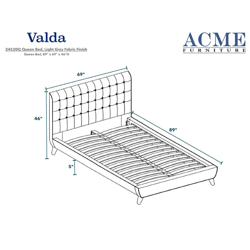 Valda Queen Bed, Light Gray Fabric (1Set/3Ctn). Picture 2