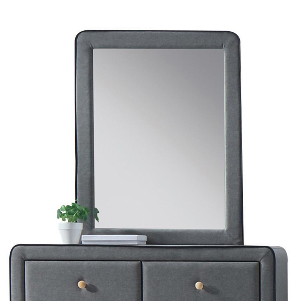 Valda Mirror, Light Gray Fabric. Picture 1