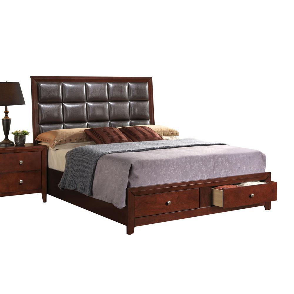 Ilana Queen Bed w/Storage, Brown PU & Brown Cherry, (1Set/3Ctn). Picture 31