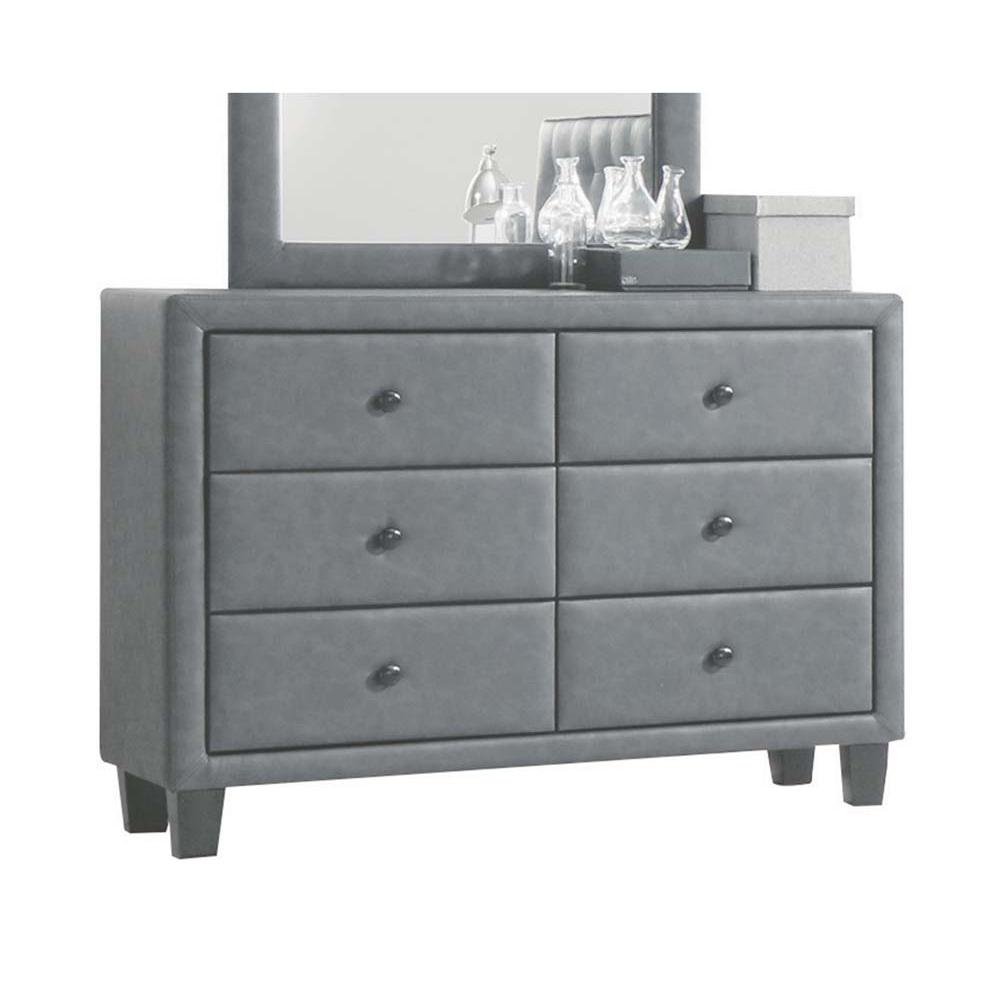 Saveria Dresser, 2-Tone Gray PU. Picture 2