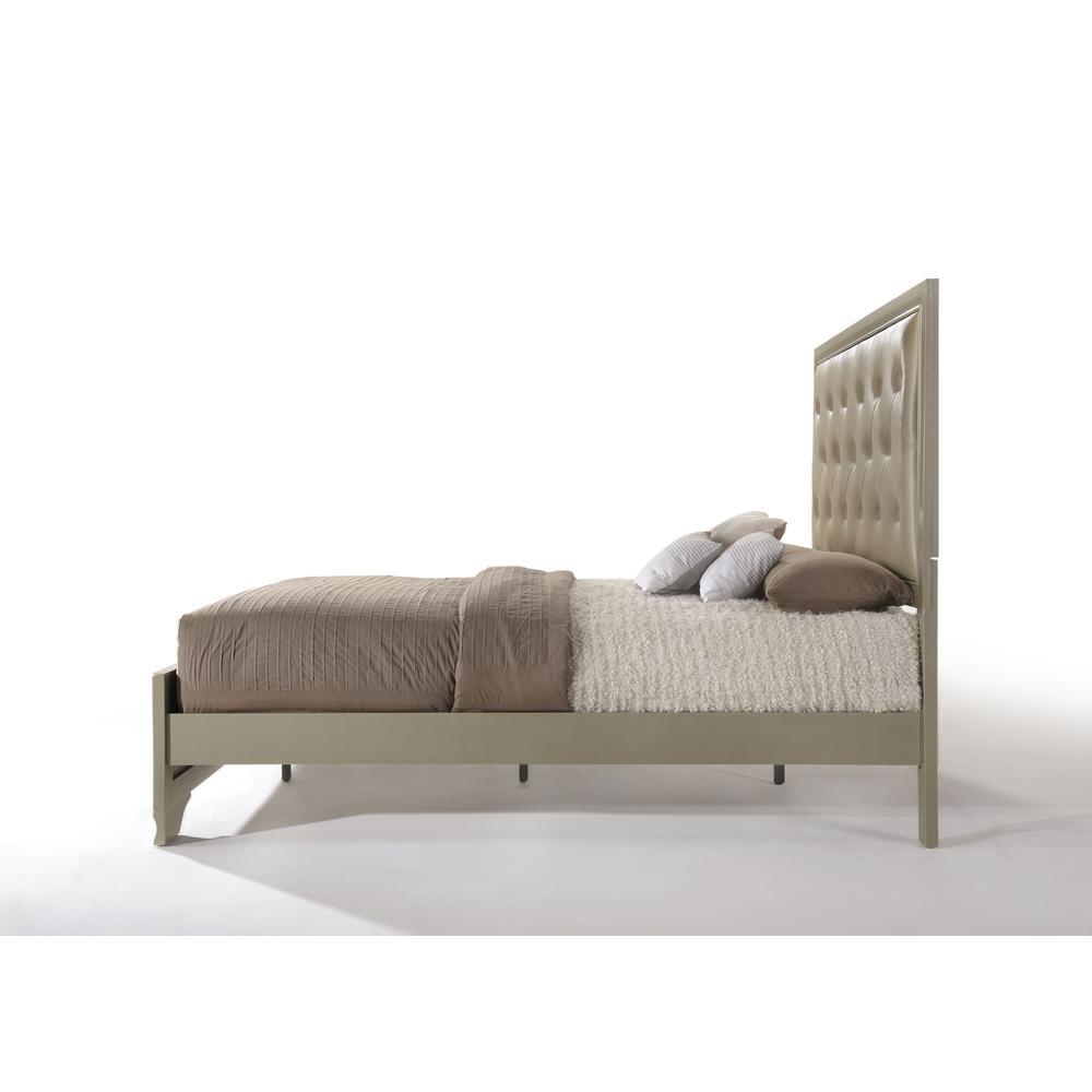 Carine Queen Bed, PU & Champagne (1Set/2Ctn). Picture 4