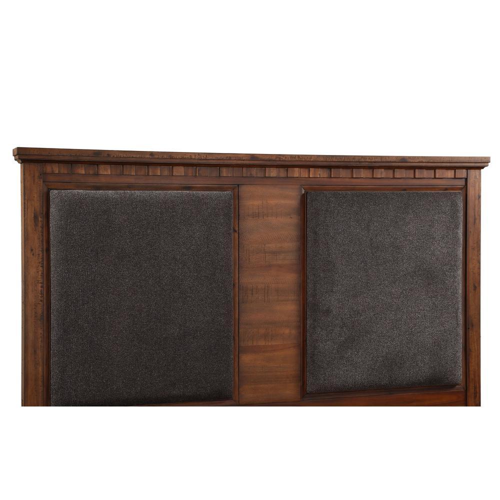 Vibia Queen Bed, Brown Fabric & Cherry Oak (1Set/3Ctn). Picture 1