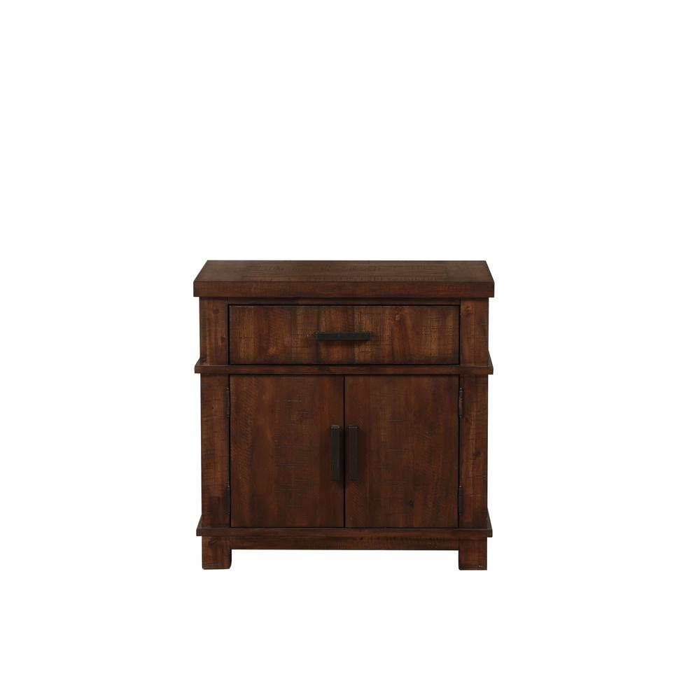Vibia Queen Bed, Brown Fabric & Cherry Oak (1Set/3Ctn). Picture 6