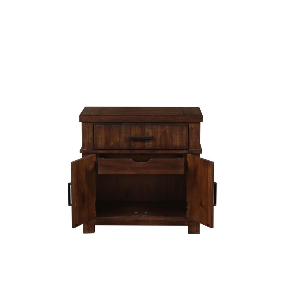 Vibia Queen Bed, Brown Fabric & Cherry Oak (1Set/3Ctn). Picture 7