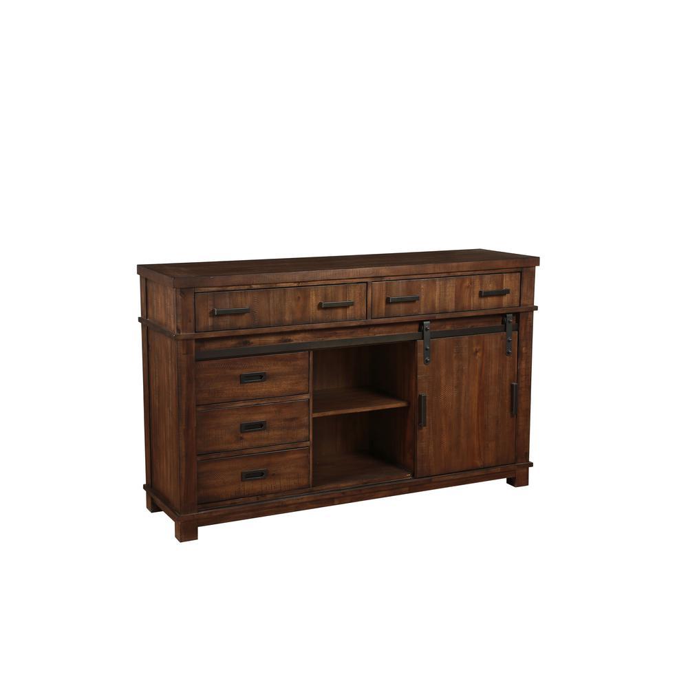 Vibia Queen Bed, Brown Fabric & Cherry Oak (1Set/3Ctn). Picture 11