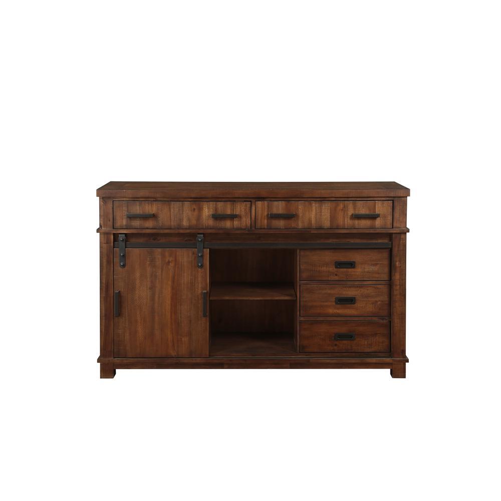 Vibia Queen Bed, Brown Fabric & Cherry Oak (1Set/3Ctn). Picture 15
