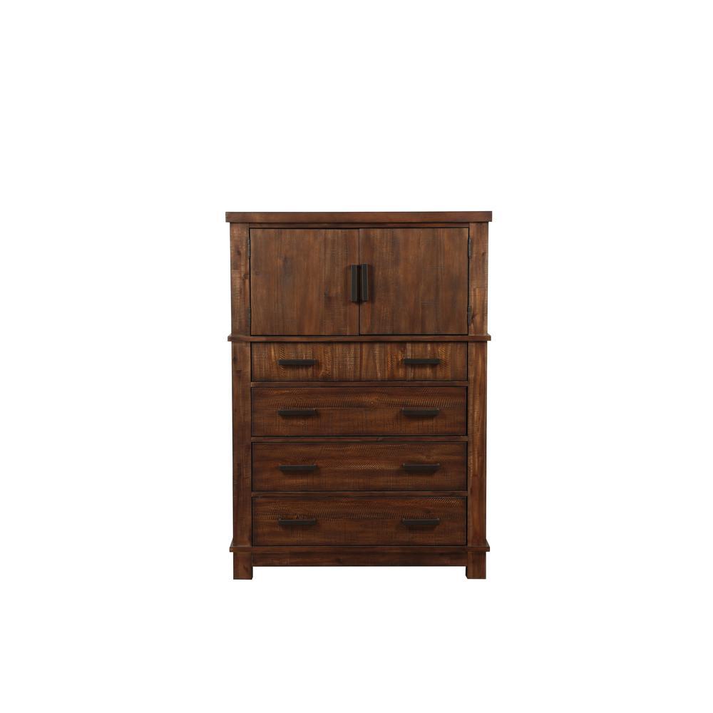 Vibia Queen Bed, Brown Fabric & Cherry Oak (1Set/3Ctn). Picture 22
