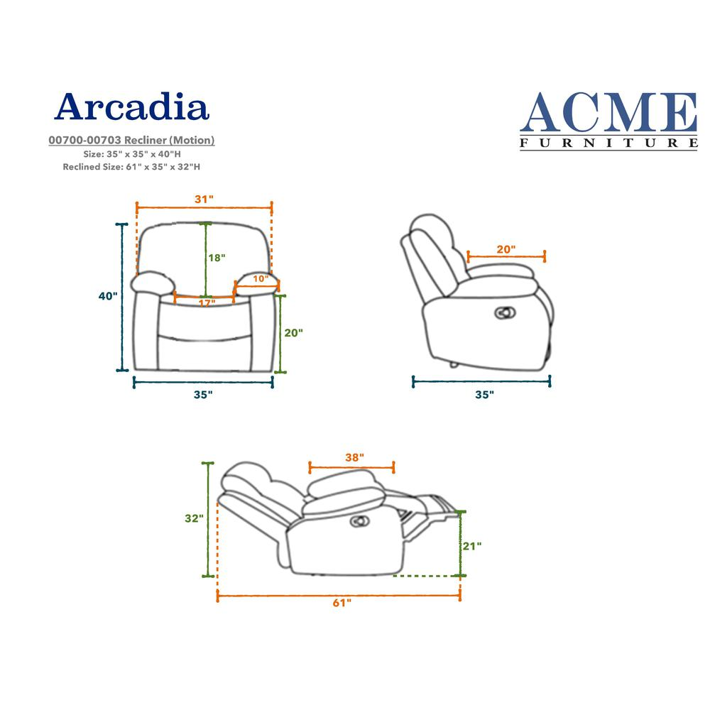 Arcadia Recliner, Blue Fabric. Picture 1