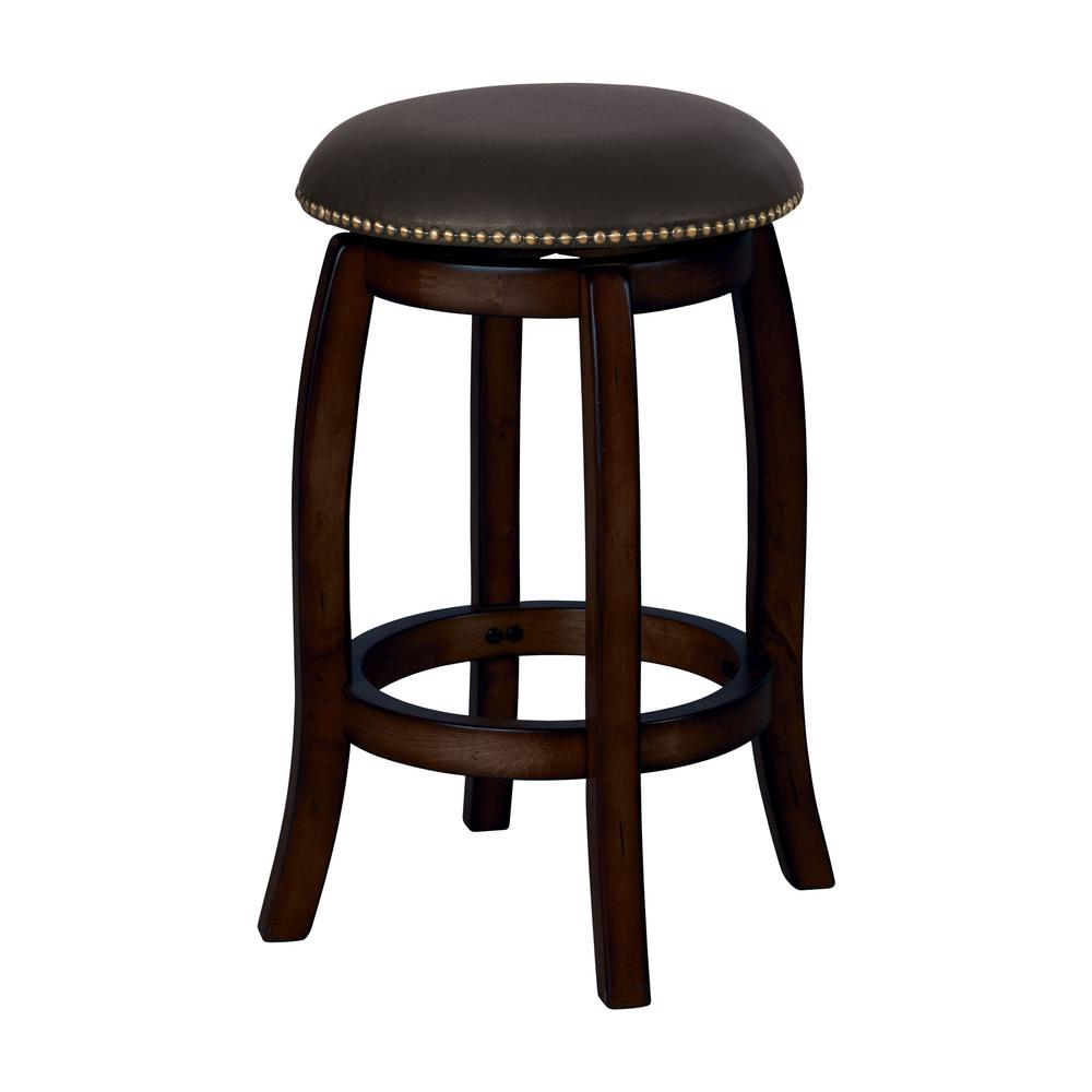 Chelsea Bar Stool with Swivel, Black Leather & Espresso. Picture 1