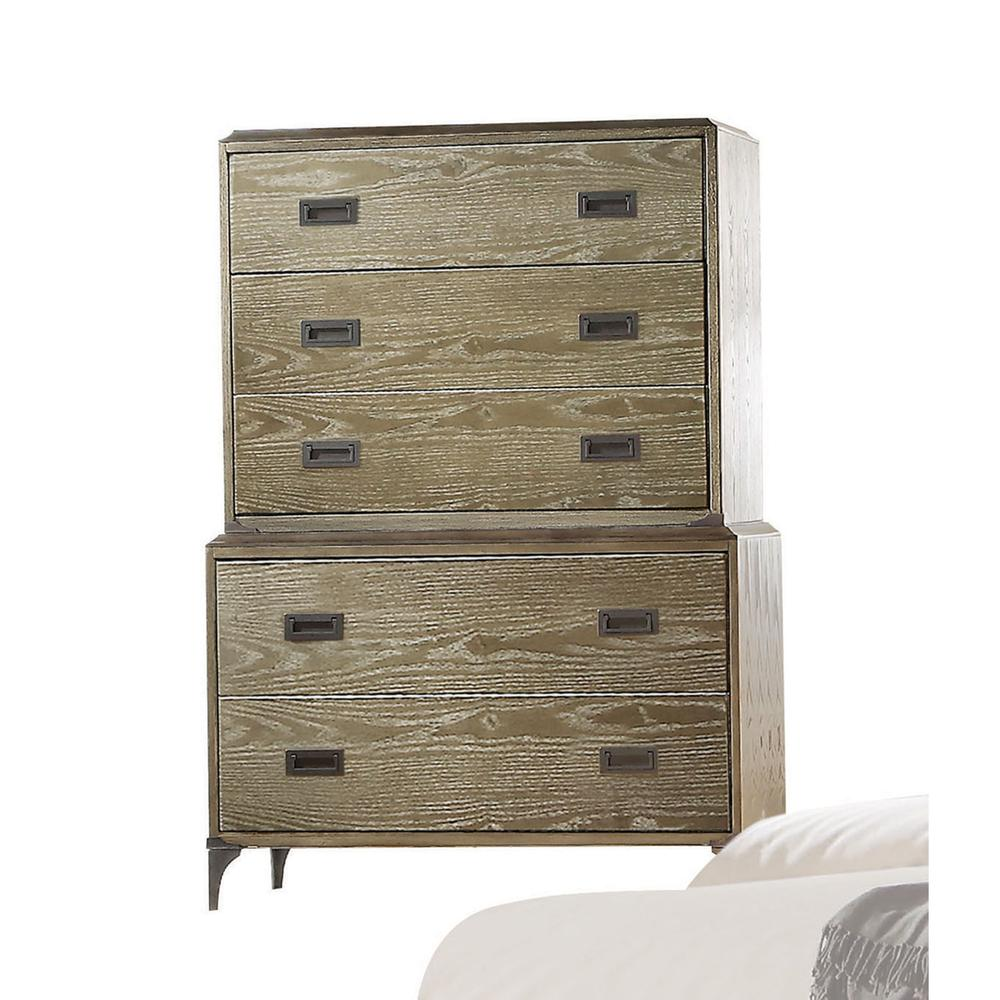 Athouman Queen Bed (Panel), PU & Weathered Oak (1Set/3Ctn). Picture 7