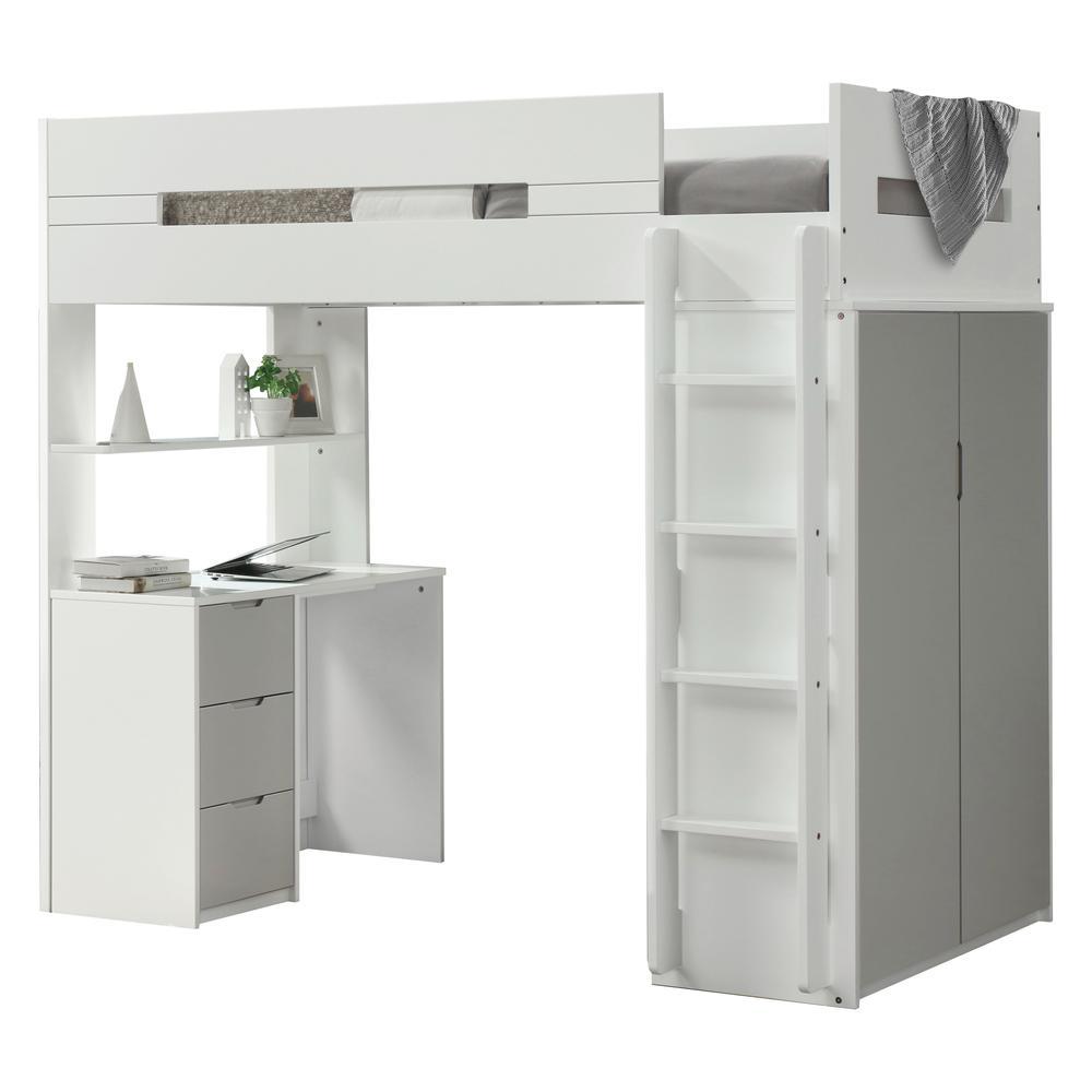 Nerice Loft Bed, White & Oak (1Set/5Ctn). Picture 3