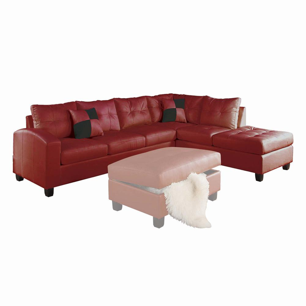 Kiva Sectional Sofa w/2 Pillows (Reversible), Red Bonded Leather Match (1Set/2Ctn). Picture 3