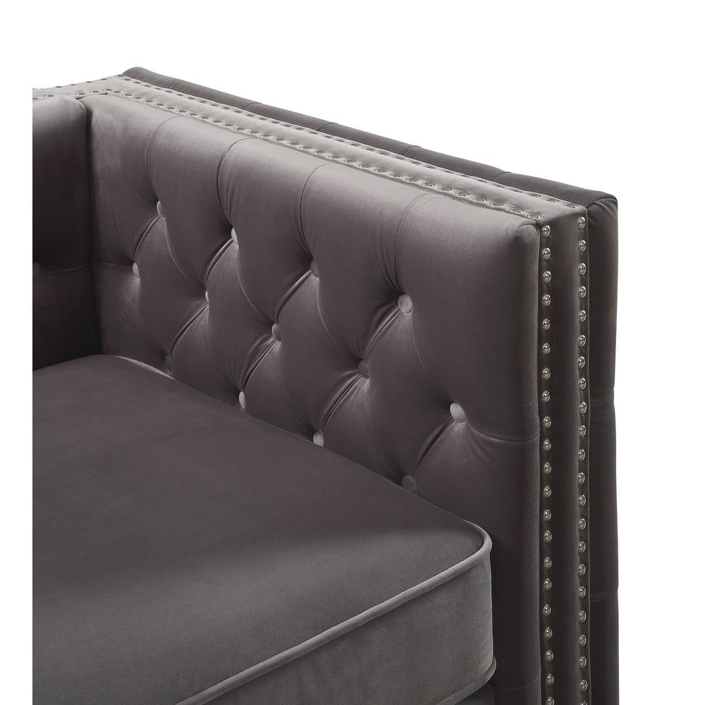 Gillian II Chair w/1 Pillow, Dark Gray Velvet (1Set/2Ctn). Picture 2
