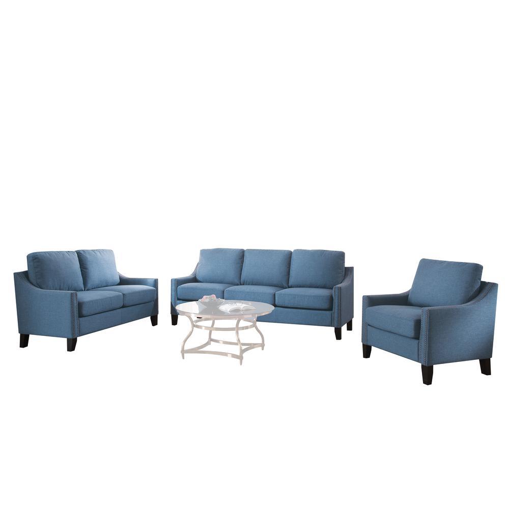 Zapata Sofa, Blue Linen. Picture 1