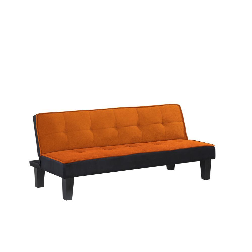 Hamar Adjustable Sofa, Orange Flannel Fabric. Picture 2