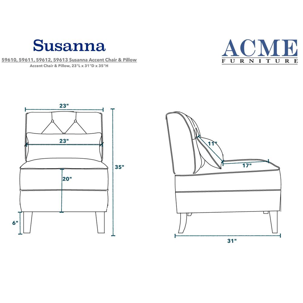 Susanna Accent Chair & Pillow, Teal Linen. The main picture.