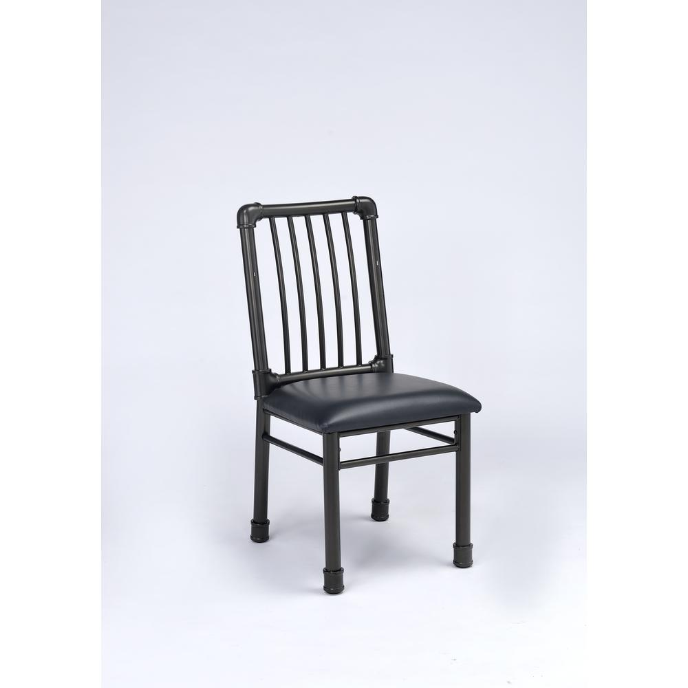 Caitlin Side Chair (Set-2), Black PU & Black