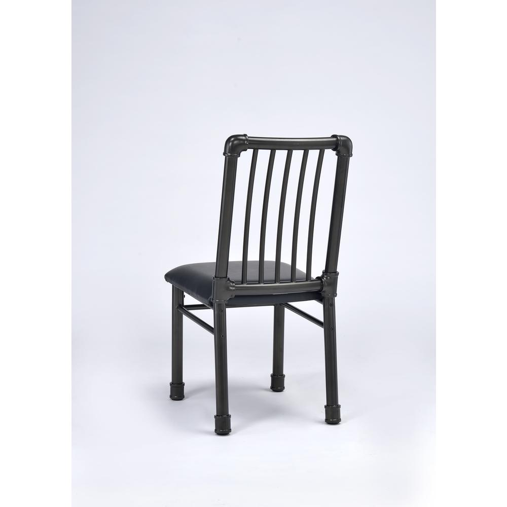 Caitlin Side Chair (Set-2), Black PU & Black. Picture 2