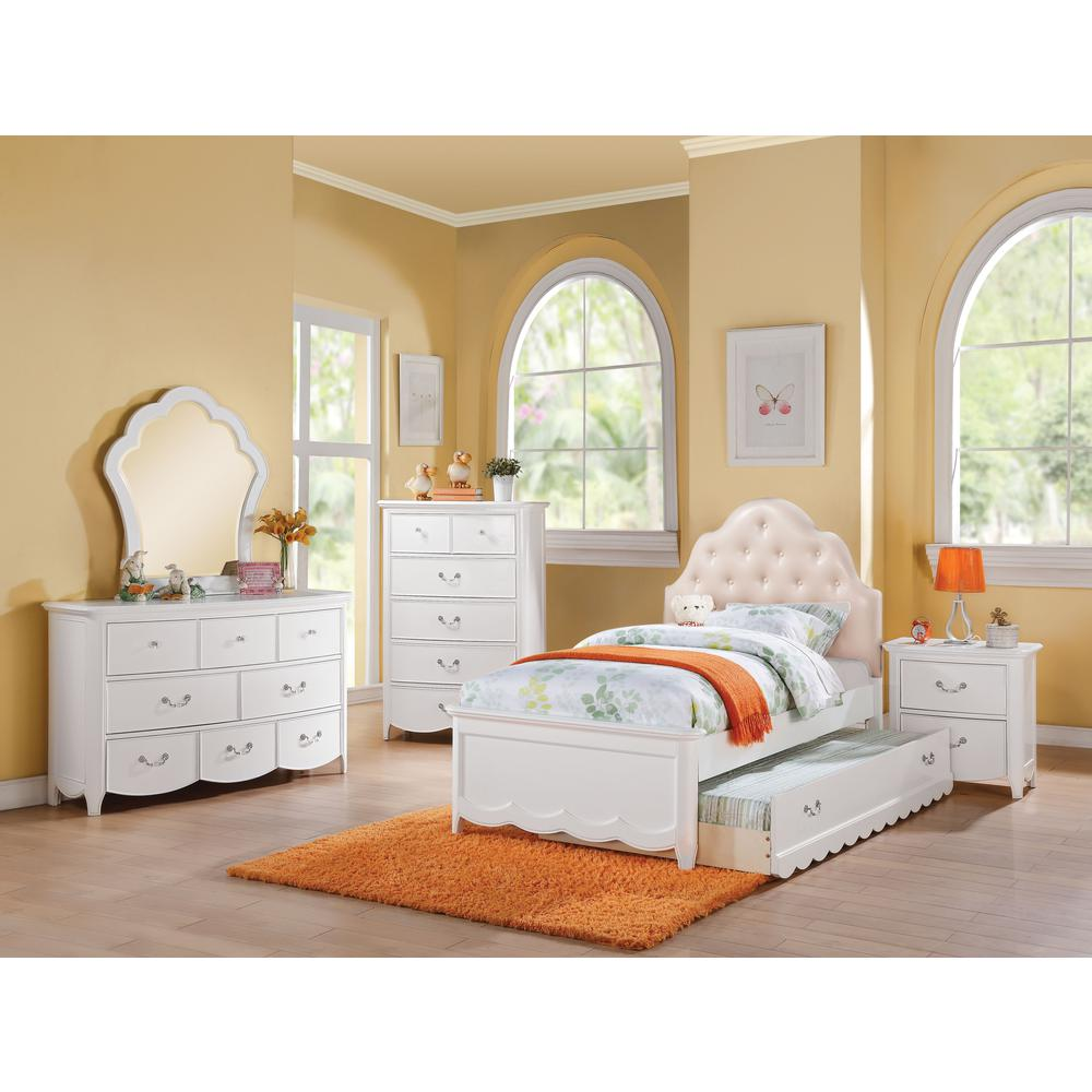 Cecilie Twin Bed Light Pink Pu Amp White 1set 3ctn
