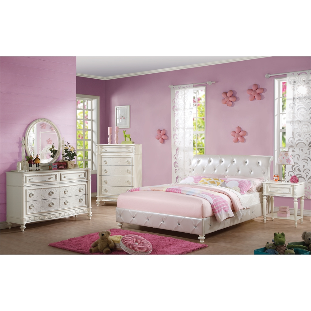 Dorothy Full Bed (Padded), Pearl White PU & Ivory (1Set/3Ctn). Picture 2