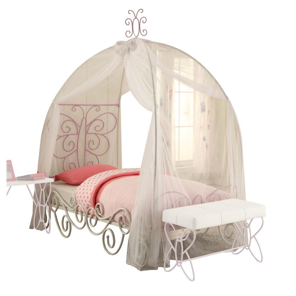 Priya II Twin Bed w/Canopy, White & Light Purple. Picture 1