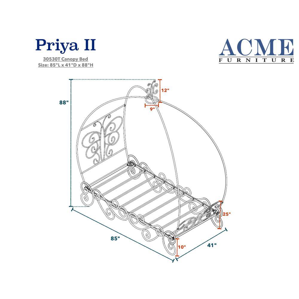 Priya II Twin Bed w/Canopy, White & Light Purple. Picture 2