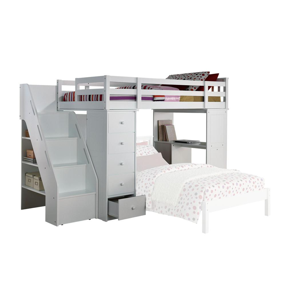 Freya Loft Bed & Bookcase Ladder, White (1Set/5Ctn). The main picture.