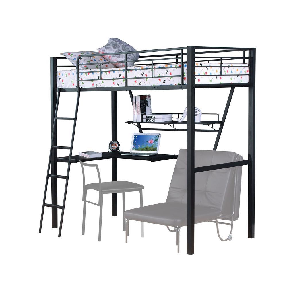 Senon Loft Bed w/Desk, Silver & Black. Picture 1