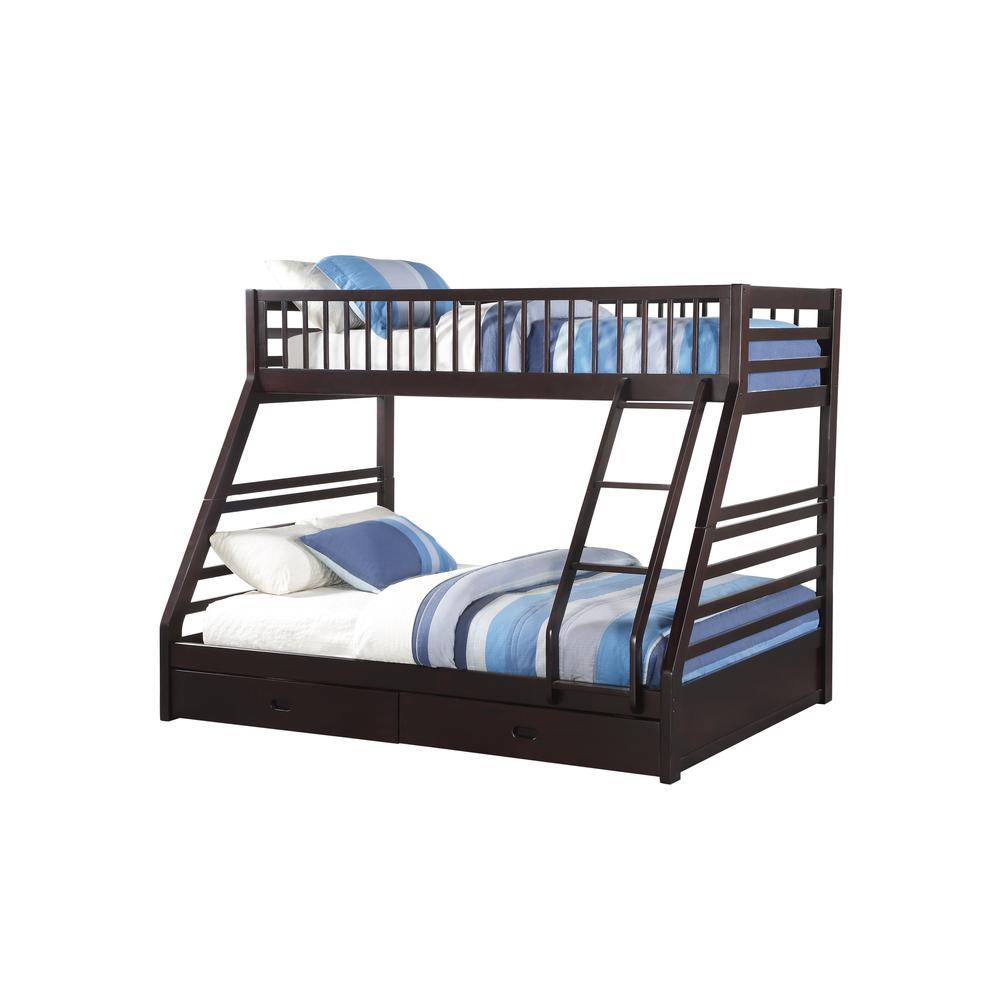Jason XL Twin/Queen Bunk Bed & Drawers, Espresso (1Set/2Ctn)