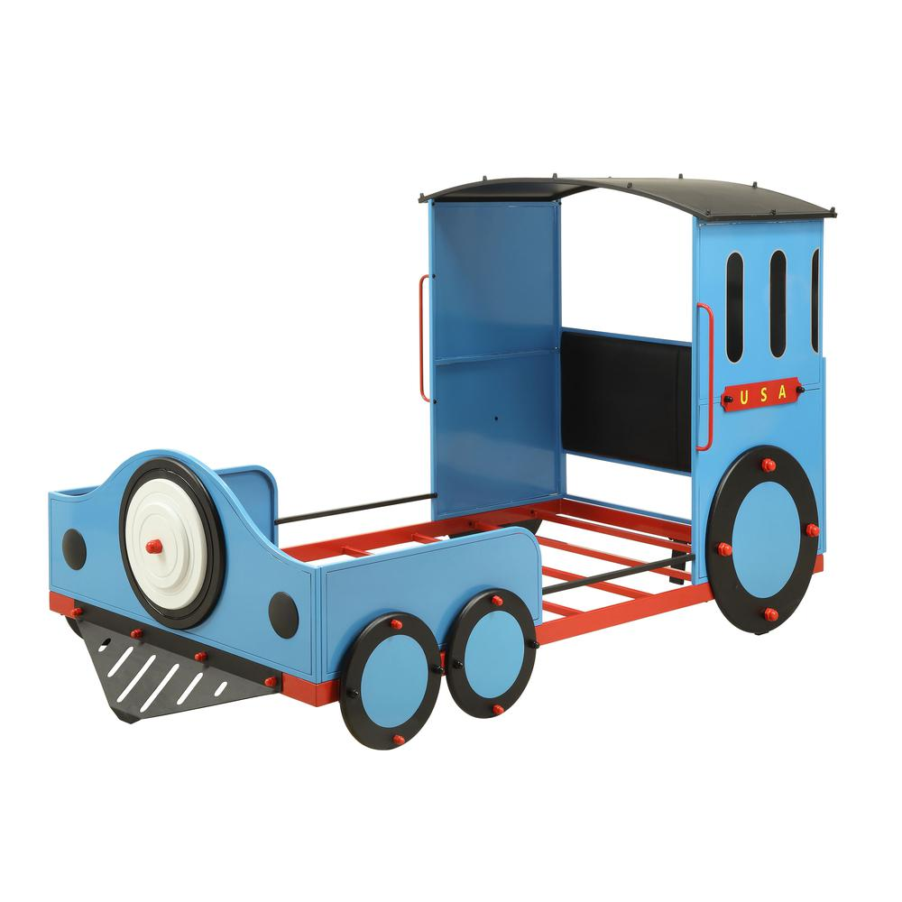 Tobi Twin Bed, Blue/Red & Black Train. Picture 1
