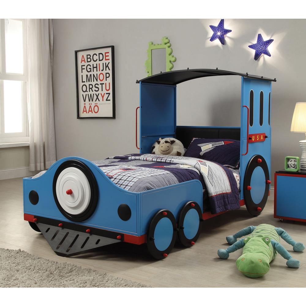 Tobi Twin Bed, Blue/Red & Black Train. Picture 2