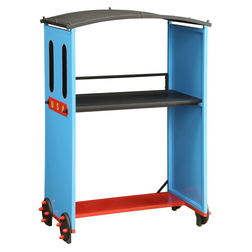 Tobi Twin Bed, Blue/Red & Black Train. Picture 3