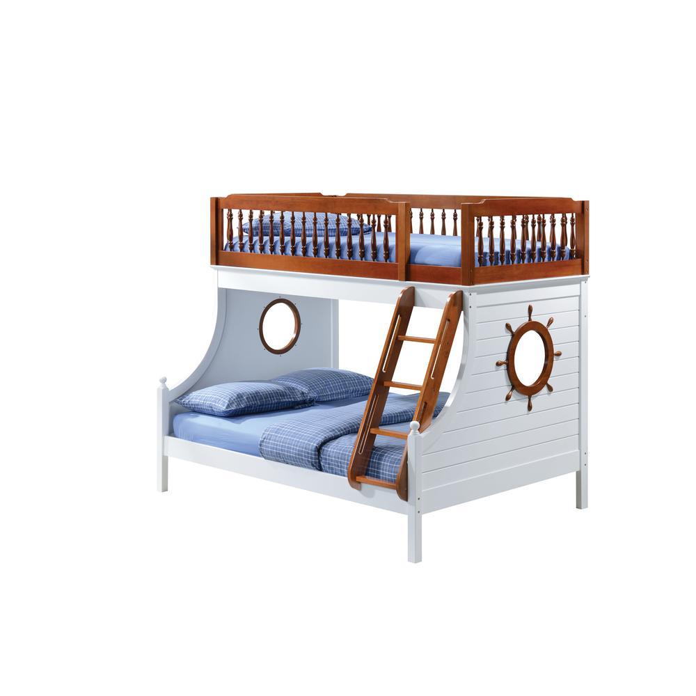 Farah Twin/Full Bunk Bed, Oak & White (1Set/4Ctn). Picture 1