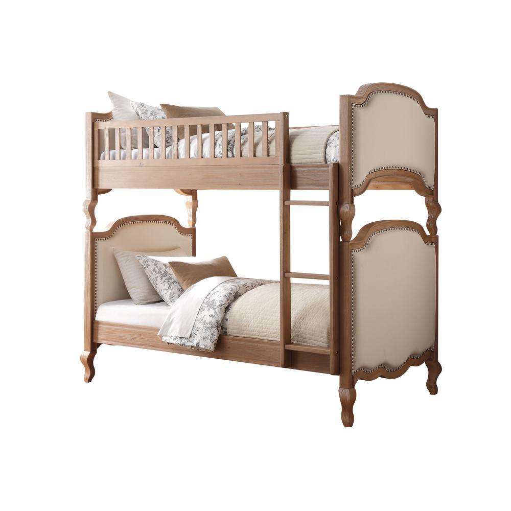 Charlton Twin/Twin Bunk Bed, Cream Linen & Salvage Oak (1Set/3Ctn). Picture 1