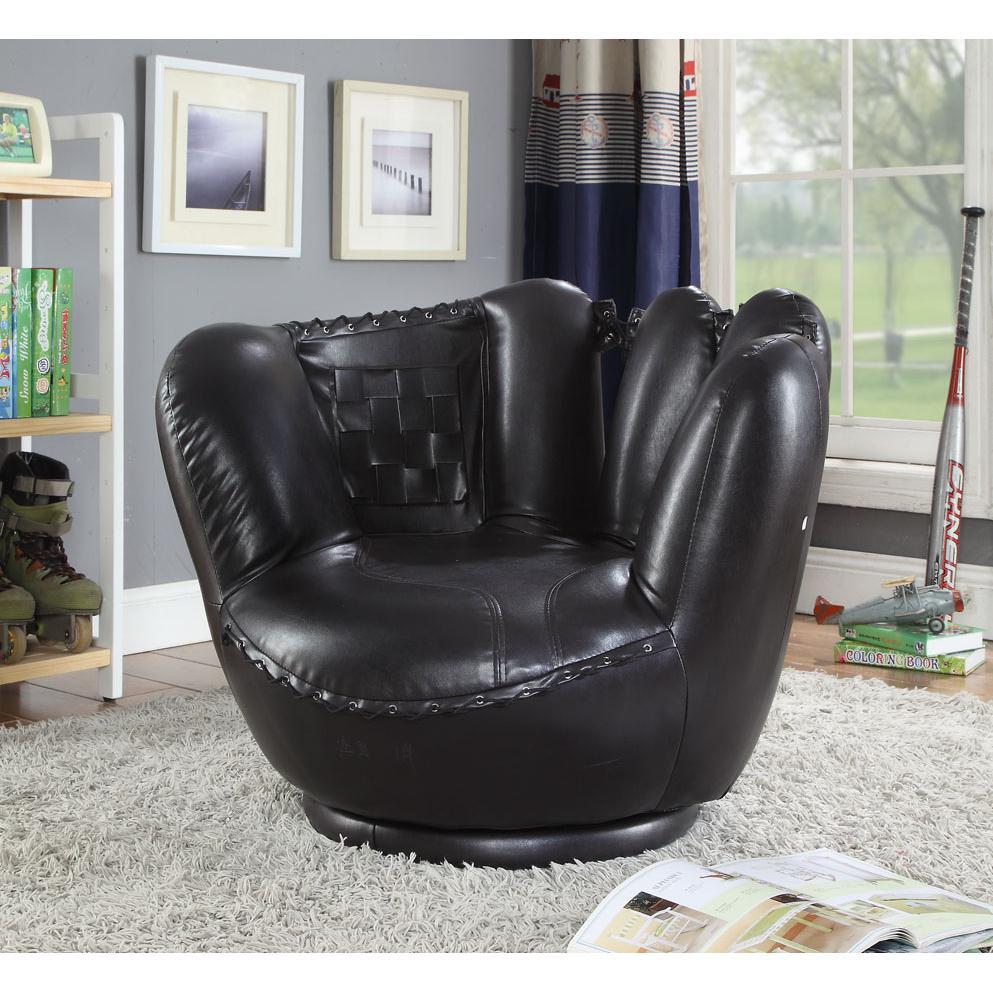 All Star 2Pc Pack Chair & Ottoman, Baseball: Black Glove Chair, White Ottoman. Picture 7