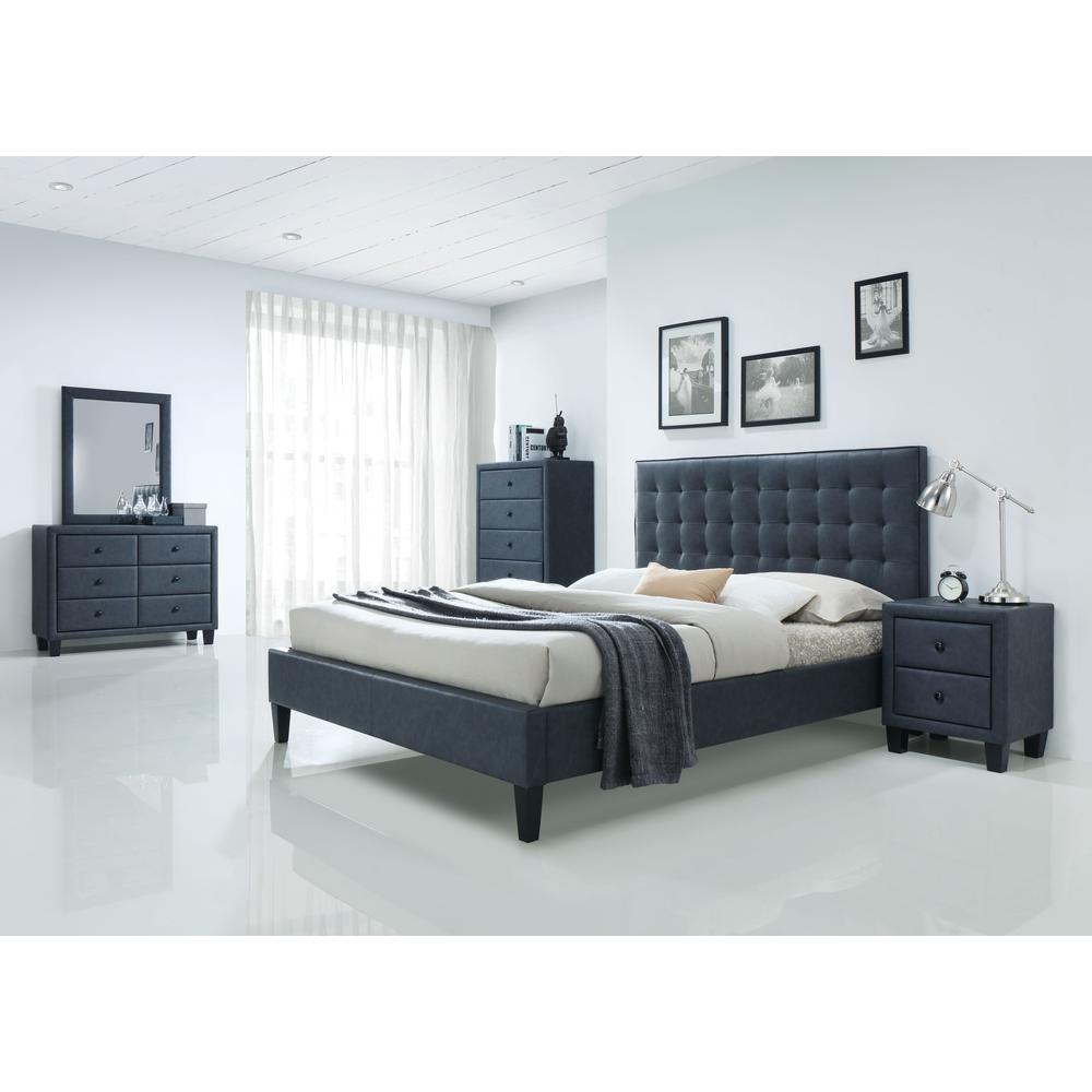 Saveria Eastern King Bed, 2-Tone Gray PU (1Set/2Ctn). Picture 1