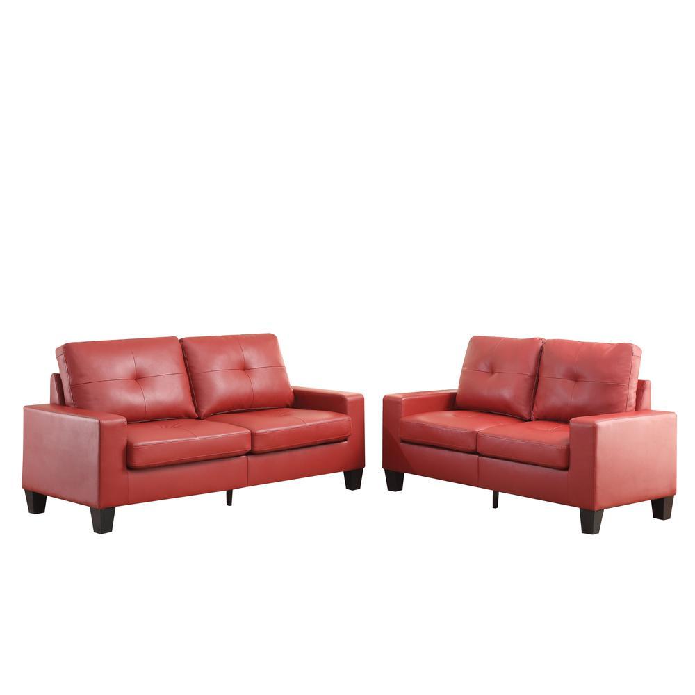 Platinum II Sofa & Loveseat, Red PU (1Set/2Ctn). Picture 4