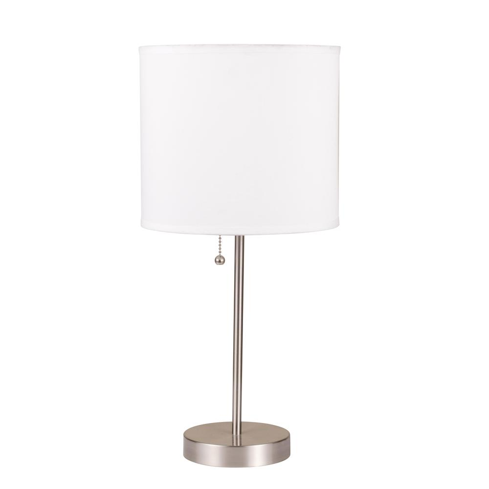 Vassy Table Lamp (Set-2), White Shade, Brush Silver. Picture 1