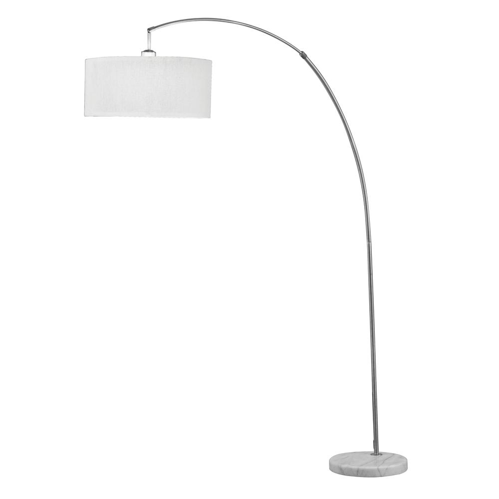 Cagney Floor Lamp, Brushed Nickel & Marble. Picture 1
