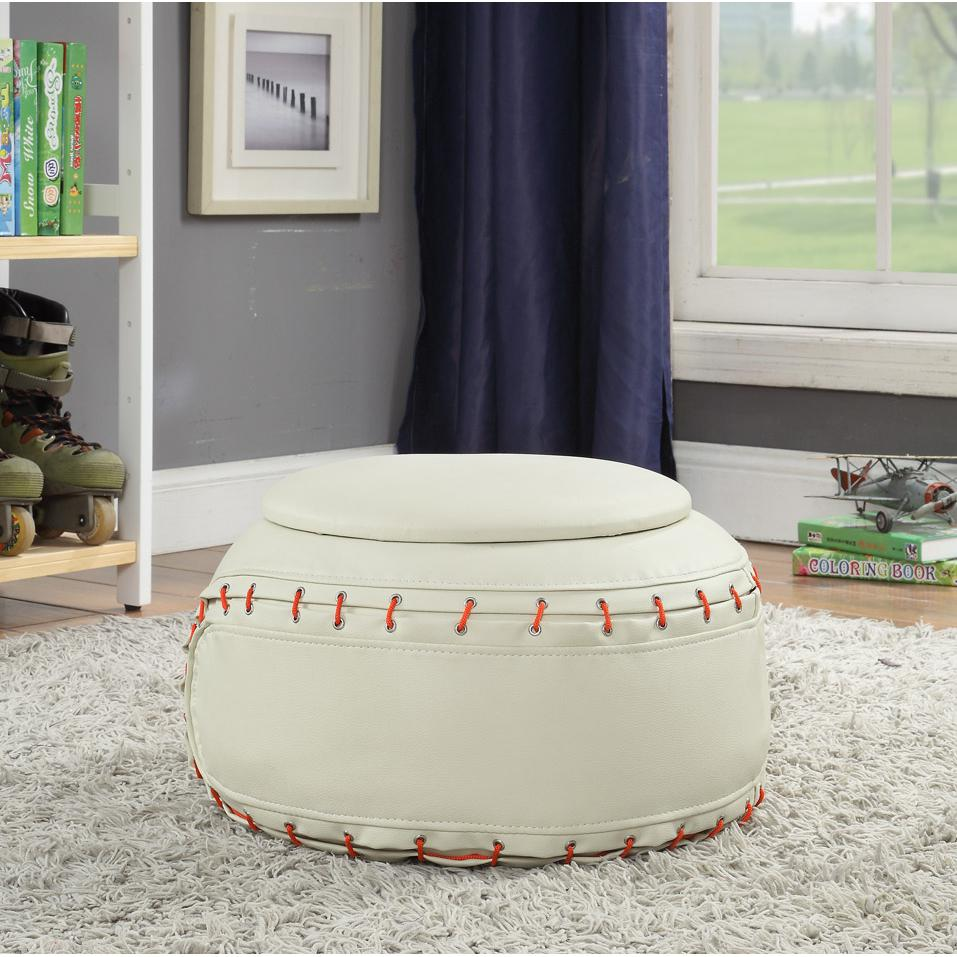 All Star 2Pc Pack Chair & Ottoman, Baseball: White. Picture 8