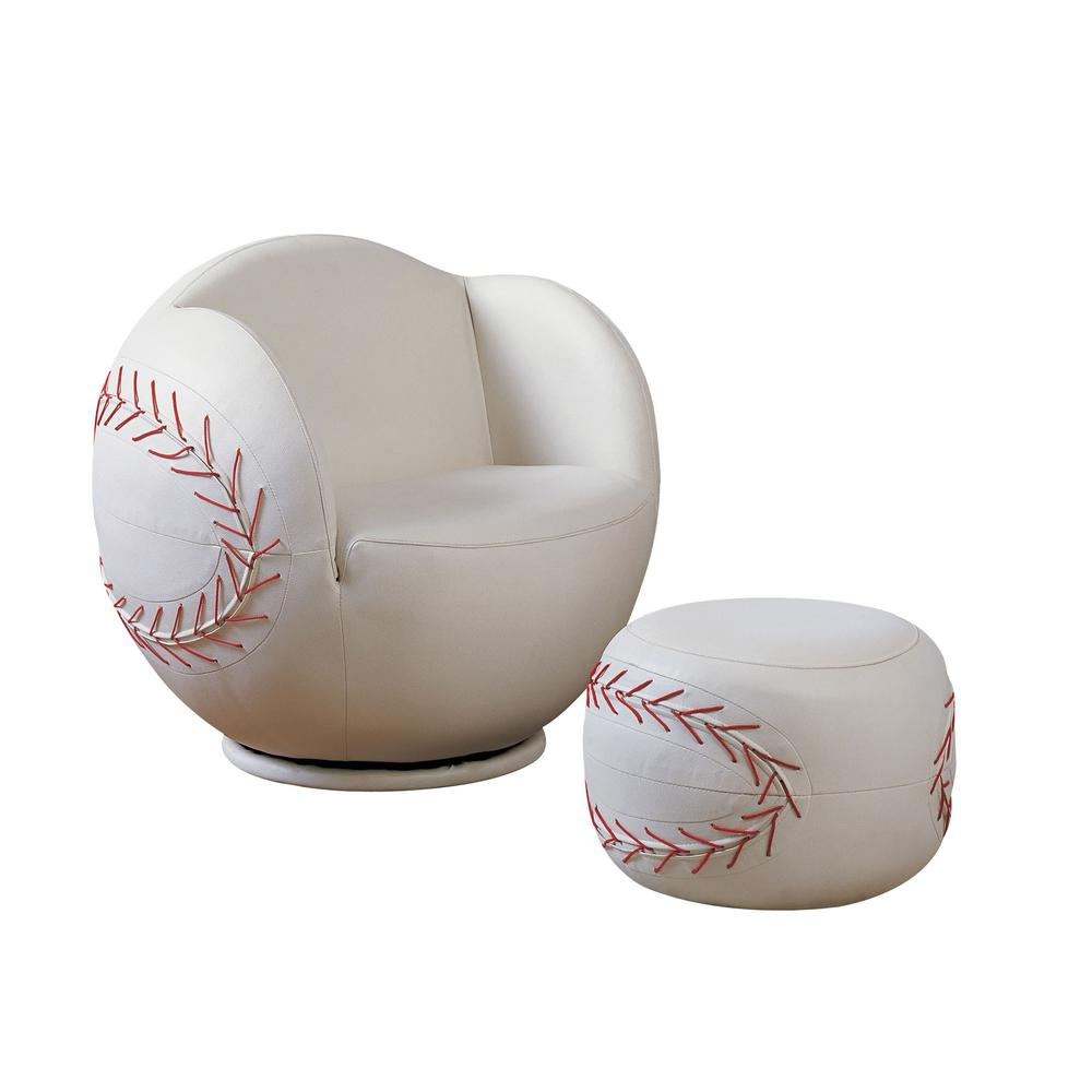 All Star 2Pc Pack Chair & Ottoman, Baseball: White. Picture 14