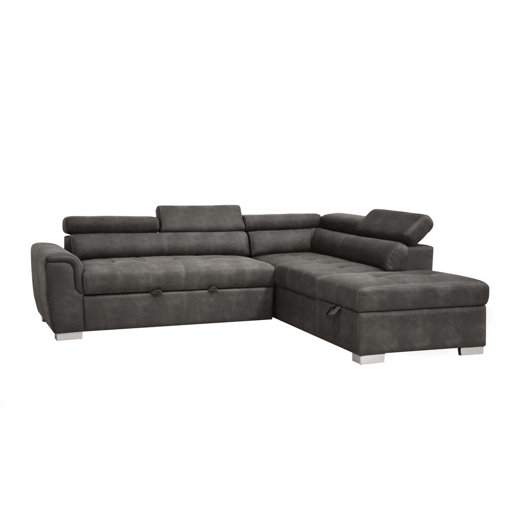 Thelma Sectional Sofa w/Sleeper & Ottoman, Gray Polished Microfiber (1Set/2Ctn). Picture 1