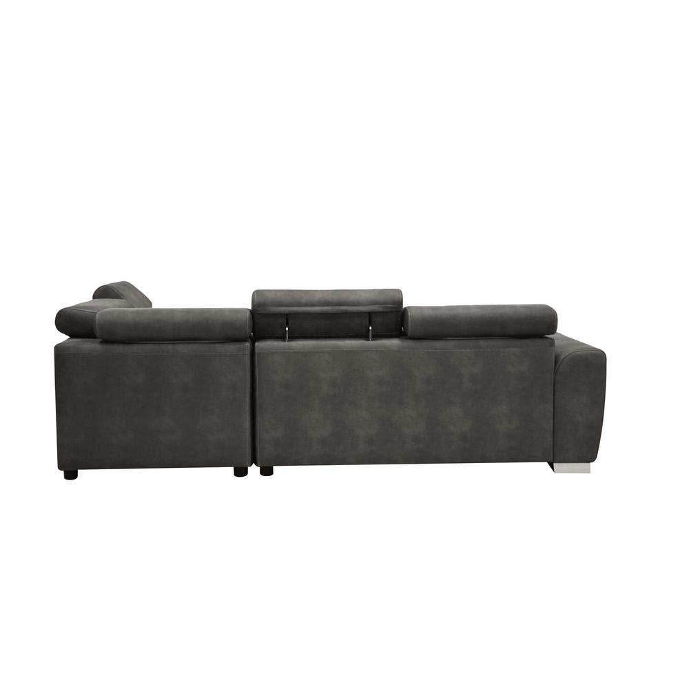 Thelma Sectional Sofa w/Sleeper & Ottoman, Gray Polished Microfiber (1Set/2Ctn). Picture 4