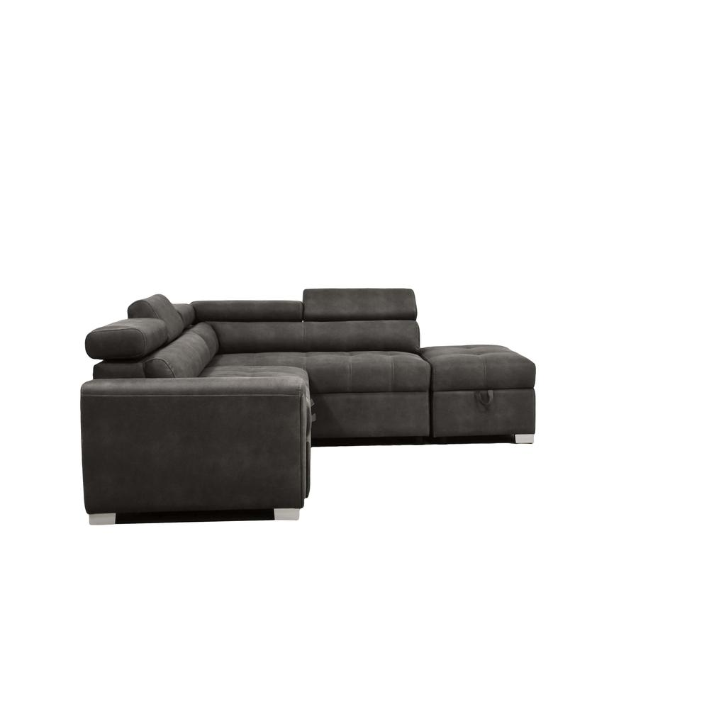Thelma Sectional Sofa w/Sleeper & Ottoman, Gray Polished Microfiber (1Set/2Ctn). Picture 5
