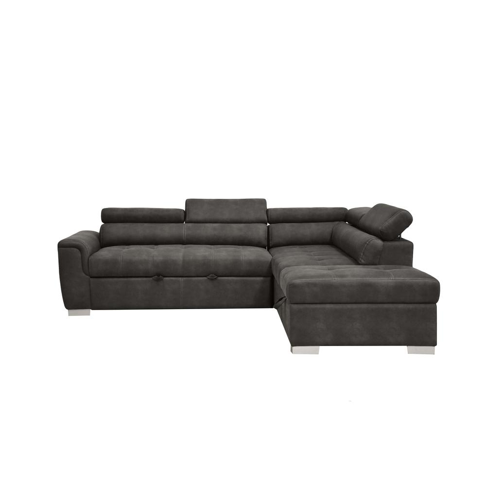 Thelma Sectional Sofa w/Sleeper & Ottoman, Gray Polished Microfiber (1Set/2Ctn). Picture 6